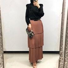 Muslim-Skirt Abaya Modest Clothing Bottoms Islamic Turkey Musulman Tulle Long-Pleated