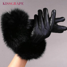 Luxury Brand 2017 Winter Womens Genuine Leather Gloves Female Warm Natural Sheep with Super Big Rabbit Fur