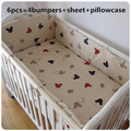 Promotion! 6PCS Mickey Mouse baby boy girl crib bedding set baby cot beding cotton material cuna ,(bumpers+sheet+pillow cover)