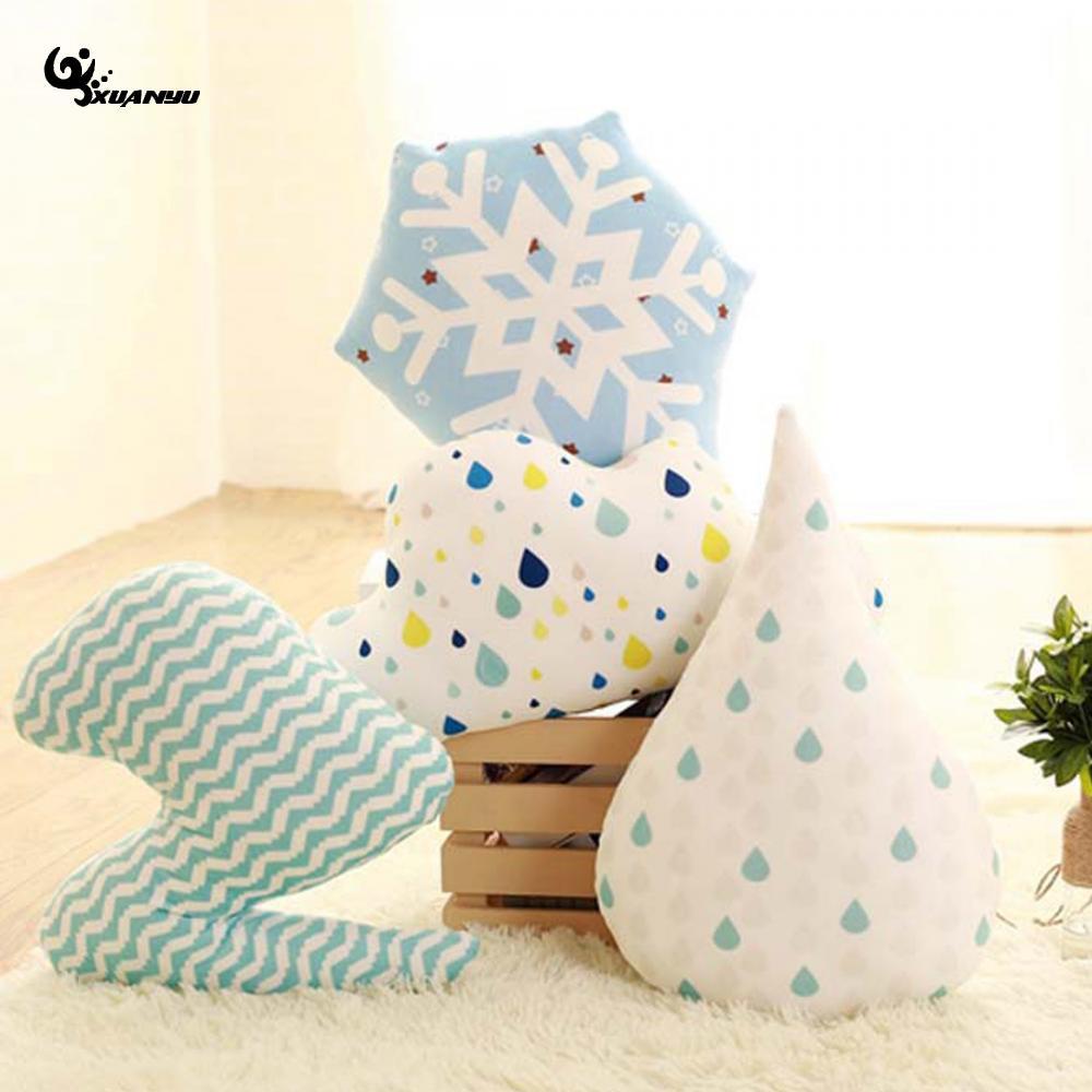 Подушки Детские стеганые Снежинка капли воды Подушки Детские Детская комната Декор ребенок мягкие новорожденных кровать кукла подарки на ...