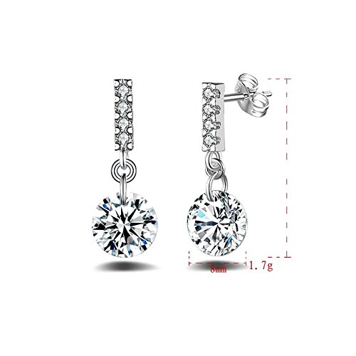 Female Fashion 925 Silver Plated Diamond Pearl Ear Stud Earrings