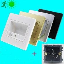 Nueva! PIR movimiento noche Sensor de luz lámparas LED con luz bebé Sensor de iluminación del dormitorio pared camino de lavandería pelayo lámpara + 86# caja