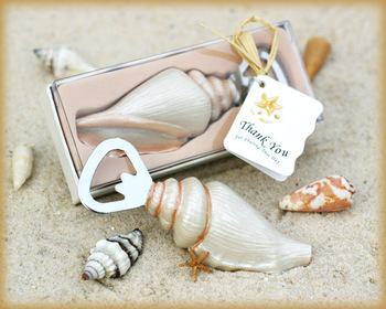 "50pcs/lot bottle opener holiday party supplies Wedding favor Beach series ""Shore Memories"" Sea Shell Bottle Opener key chains"