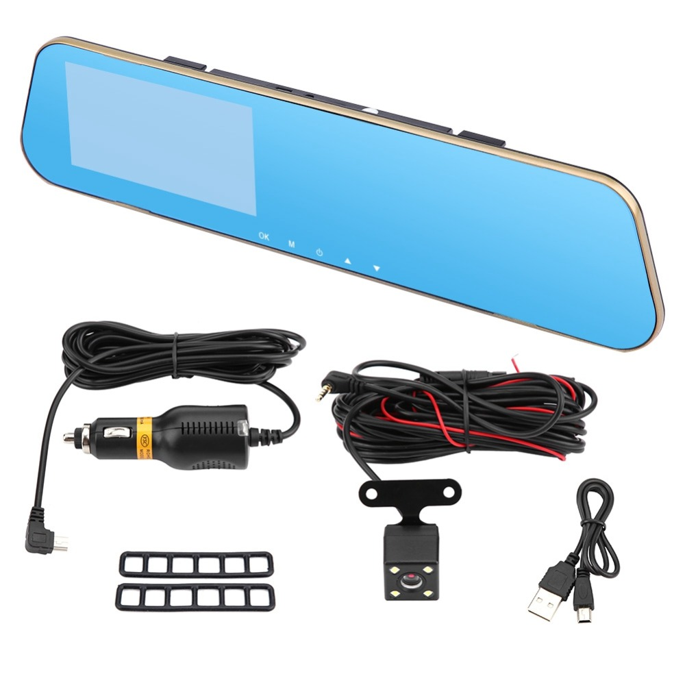 4 3Inches 1080P Full HD Car Rearview Mirror DVR font b Camera b font Dual Lens