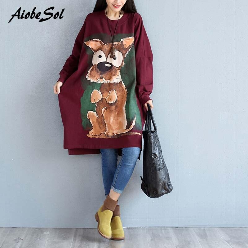 <font><b>Plus</b></font> <font><b>Size</b></font> Autumn Winter Thickening Long Sweatshirt Dress Ladies Female <font><b>Vintage</b></font> Loose O-neck Cartton <font><b>Print</b></font> Sweatshirt <font><b>Tops</b></font> 3XL