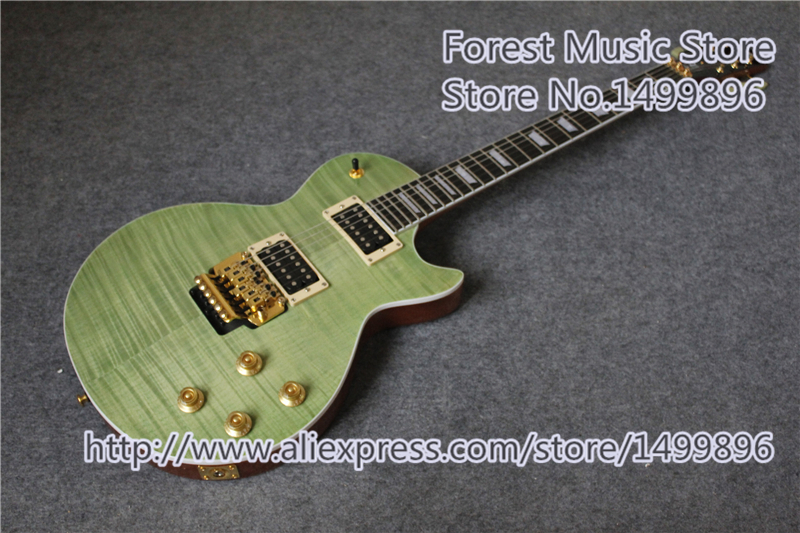 New Arrival China Green Finish AL Signature LP Standard Electric Guitar With One Piece Body & Neck For Sale new arrival acrylic plexiglass lp china guitar electric clear guitar body puc style pickup lefty custom available