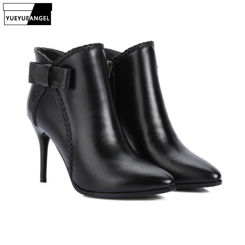 Sweet Sexy Women Winter Fashion Thin High Heel Zipper Work Shoes Ankle Boots Female Genuine Leather Shoes Butterfly-knot RedSweet Sexy Women Winter Fashion Thin High Heel Zipper Work Shoes Ankle Boots Female Genuine Leather Shoes Butterfly-knot Red