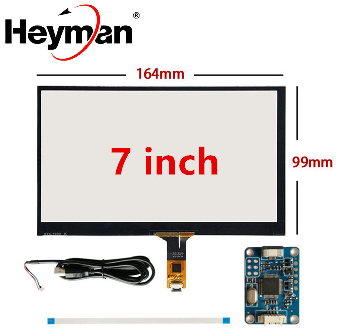 7 Inch 165mm*100mm Raspberry Pi Tablet PC Navigation Capacitive Touch Digitizer Touch Screen Panel Glass USB Driver Board