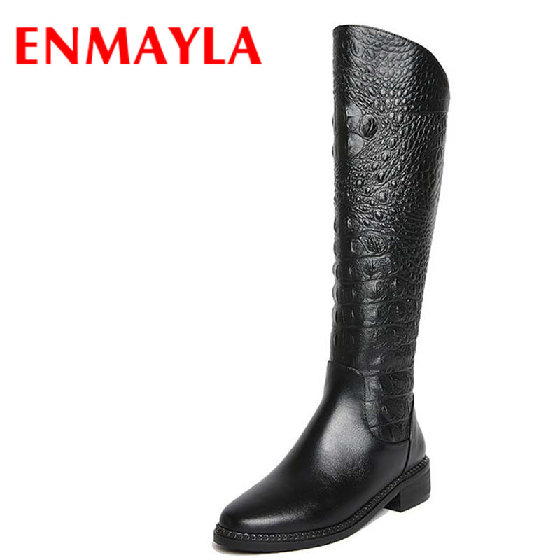 ENMAYLA Fashion Women Shoes Knee-high Boots Shoes Black Color Winter Warm Boots Zippers Square Heel Round Toe Boots ShoesENMAYLA Fashion Women Shoes Knee-high Boots Shoes Black Color Winter Warm Boots Zippers Square Heel Round Toe Boots Shoes