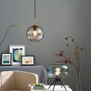 Image 5 - Modern loft glass ball pendant light LED E27 Nordic hanging lamp with 2 colors for living room restaurant bedroom lobby kitchen