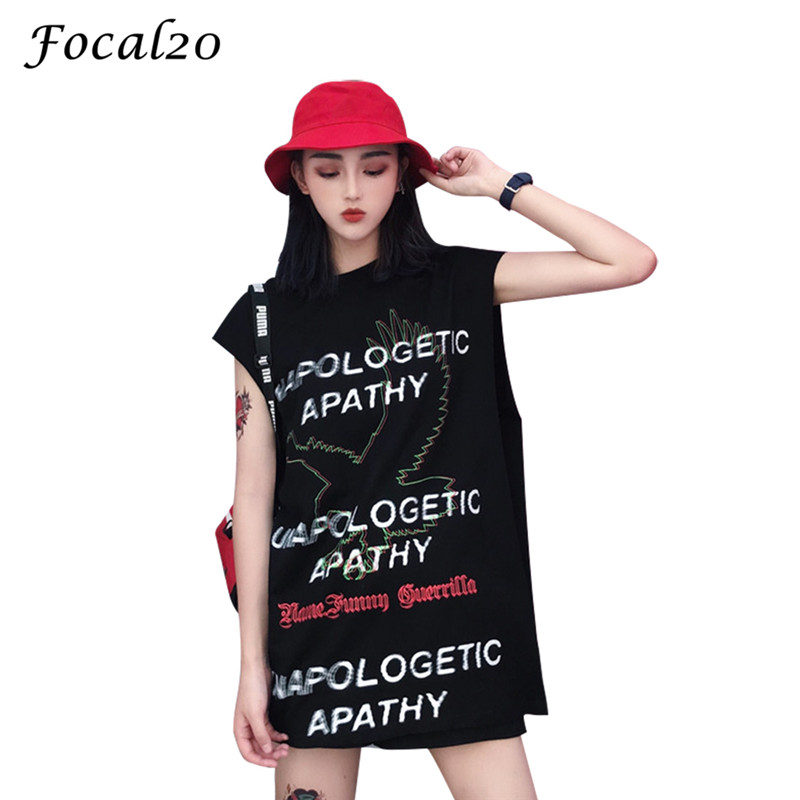 Focal20 Streetwear Back Zipper Letter Print Women   Tank     Top   Sleeveless Oversize Female   Top