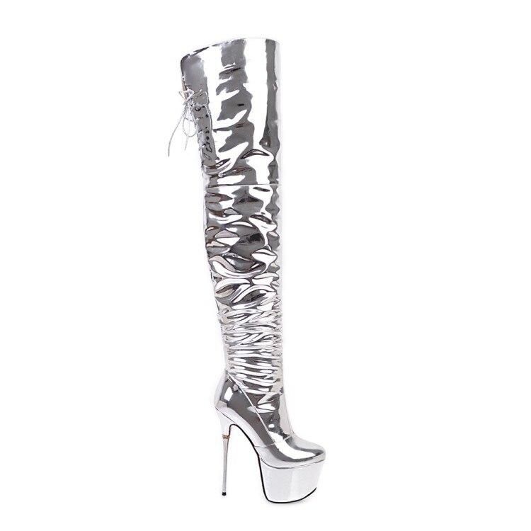 Mince Rond 5 Over Talons Métal En L'intention Bout Ef0419 Initiale 3 Nous Femme Sexy Bottes Partie the genou Argent Chaussures 10 Femmes Super Taille 6Bvq7BO