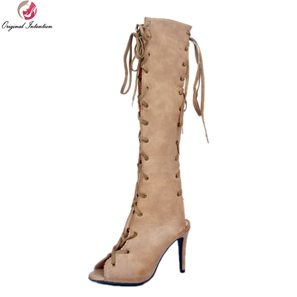 Original Intention Super Sexy Women Knee High Boots Nice Peep Toe Thin Heels Boots Beautiful Beige Shoes Woman Plus US Size 4-15 customizable fashion women knee high boots sexy pointed toe thin heels leopard boots shoes woman plus size 4 15