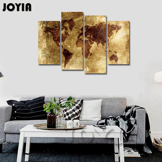 World map canvas painting wall art 4 panel metalic texture maps world map canvas painting wall art 4 panel metalic texture maps giclee prints poster gold map gumiabroncs Choice Image