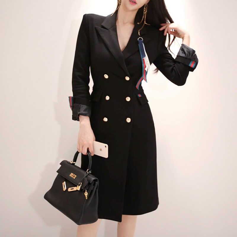 17d0e0abe6ef 2018 Autumn Winter Suit Women Blazeras and Jackets Full Double-Breasted  Long Black Notched Coat