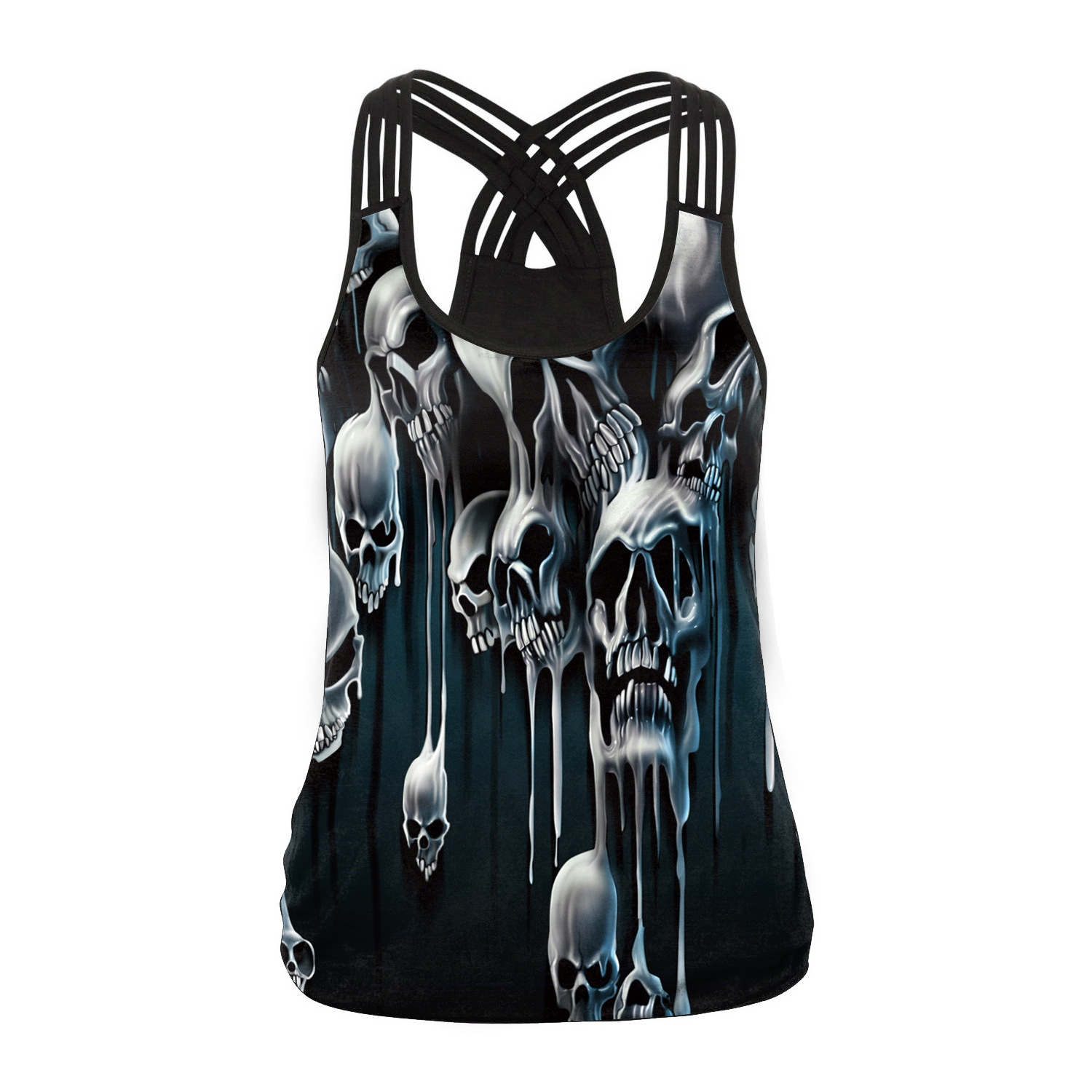 digital printing waistcoat Halloween personality cosplay costume skeleton Female jacket vest party punk costume for women
