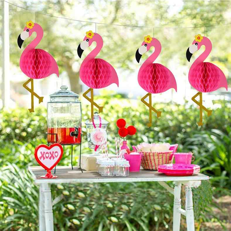 Flamingo Honeycomb Ball Paper Pompoms Flower Lantern Ball for Tropical Hawaiian Luau Wedding Party Garland Decoration