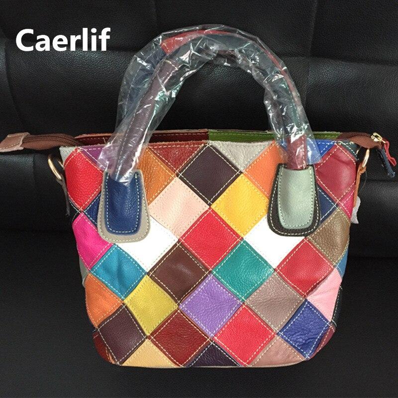 ФОТО Caerlif Fashion Women Real Leather stitching Causual Women Handbag Large Shoulder Bags Elegant Ladies Tote