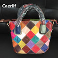 Caerlif Fashion Women Real Leather stitching Causual Women Handbag Large Shoulder Bags Elegant Ladies Tote