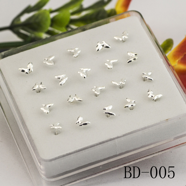 20ps 925 sterling silver butterfly nose nail & nose rings Piercing ...