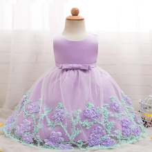 Baby Girl Flower Dresses Vintage Robe Princess Party Pageant Gown Clothing For Little Girl 0-24M Infant Baby Christening Dress