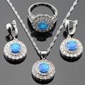 Silver Color Jewelry Sets AAA Australia Blue Opal White Stones For Women Necklace Pendant Drop Earrings Rings Gift Box