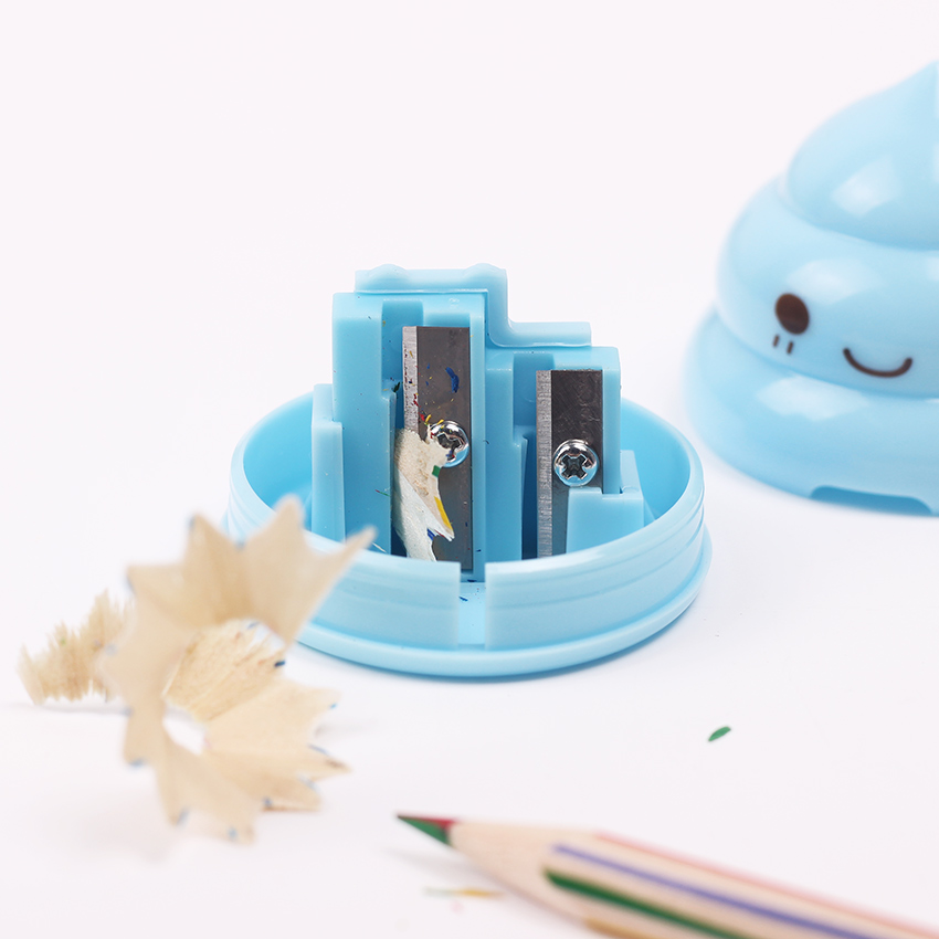 1 Pc Kawaii Shit Pencil Sharpener Shape Mini Cutter Knife Double Orifice Promotional Originality Gift Stationery Random Color Pencil Sharpeners Pens, Pencils & Writing Supplies