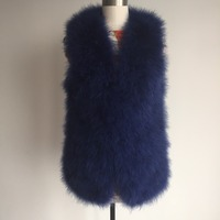 New Fashion Real Ostrich Fur Vest Women Natural Fur Vest high discount low sale for warm winter free shipping TFP616