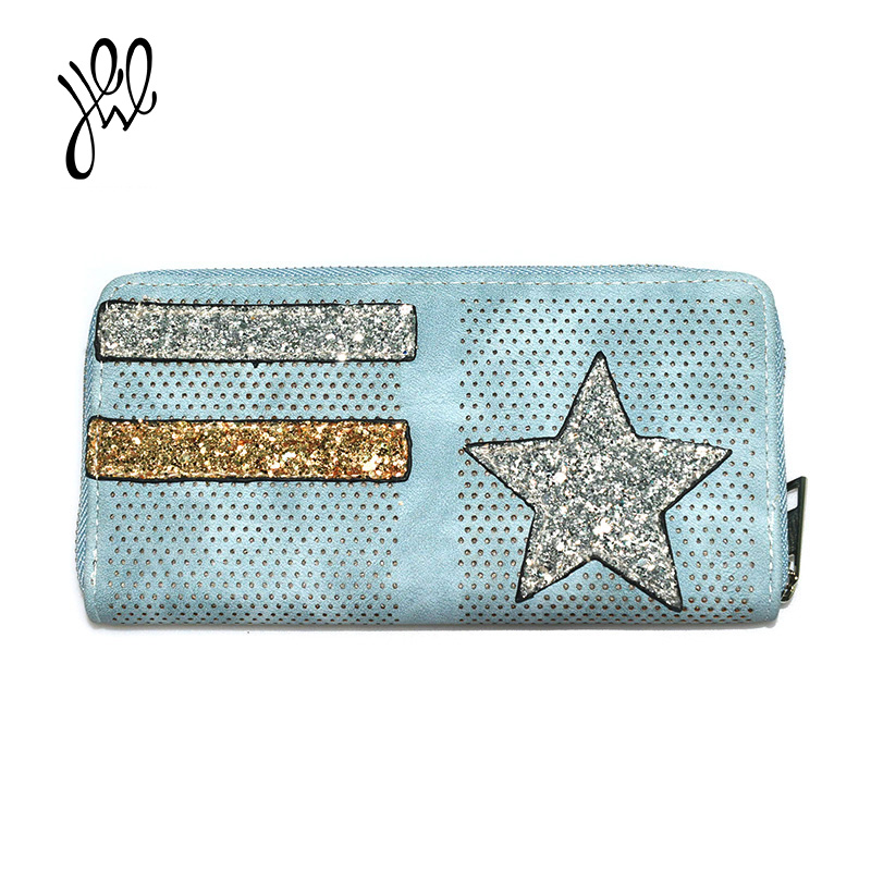 New Women Wallet Brand Design Lovely Lady Wallet Hollow Out With Bling Star Purse Large Dollar Price Hand Bag Clutch Purse500782