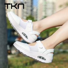 TKN 2019 Summer Women Breathable Sneakers Shoes Height Increasing Comfort Air Mesh Woman White Sandals Female Espadrilles 1168