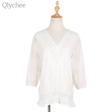 Qlychee Summer V Neck Hollow Out Chiffon Blouse Lace Embroidery Half Sleeve Women Shirt Lantern Sleeve Loose Female Shirt