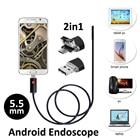 2in1 Android OTG Snake USB Endoscope Camera 5.5mm 2M/5M Smart Android Phone OTG USB Borescope Inspection Snake Tube Camera