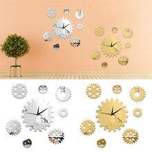 DIY 8Pcs/set Gear Decorative Wall Clocks Rotating Art Mirror Stickers Quartz for Home Bedroom study Decor set 8pcs module 11 pa20 bore40 12345678 involute gear cutters m11 lf