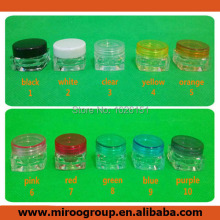 Free Shipping 100pcs 3g plastic cosmetic container cream jar cosmetic packaging sample jar 3g with colorful