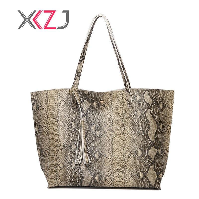 Hot Tassel Women Handbag Fashion PU Leather Shoulder Bags Lady Large Capacity Practical Female Handbag Serpentine Woman Bag