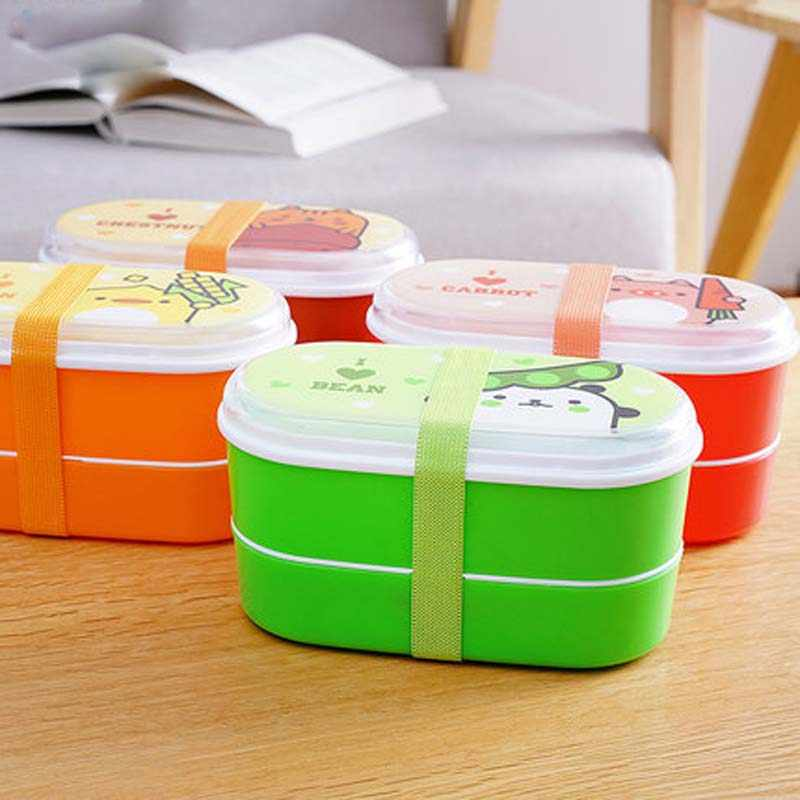 Baby Dishes Lunch Box PP Material BPA Free Children Feeding Bowl Portable School Bento Kids Baby Dinnerware Set