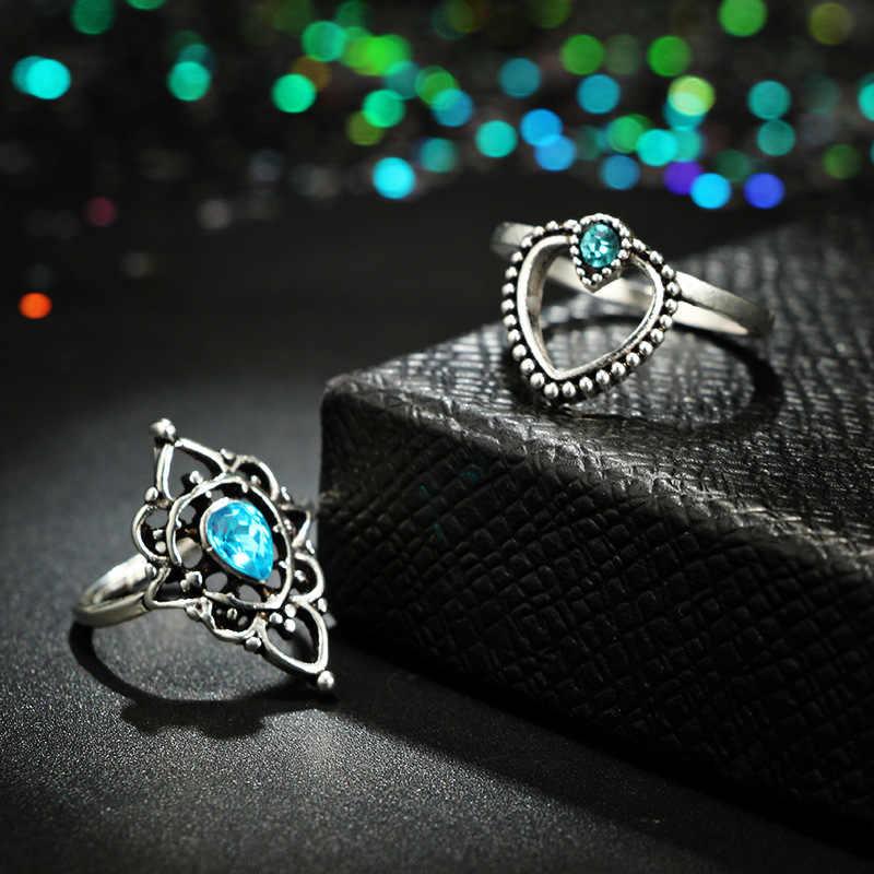 HOMOD 2019 ใหม่ Bohemian แหวนดอกไม้ชุดผู้หญิง Retro Silver สี Lotus หินสีฟ้าคริสตัลแหวนเครื่องประดับนิ้วมือ 13pcs