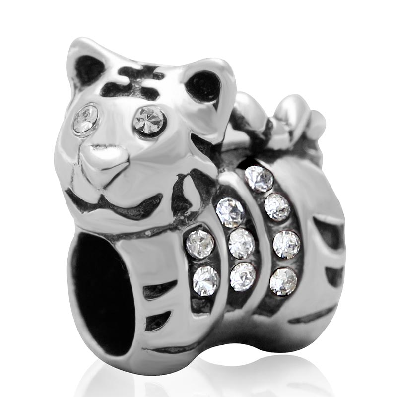 White Cubic Zirconia Silver Beads Authentic 925 sterling silver jewelry Fits Pandora Charms Bracelet SJ3160-1