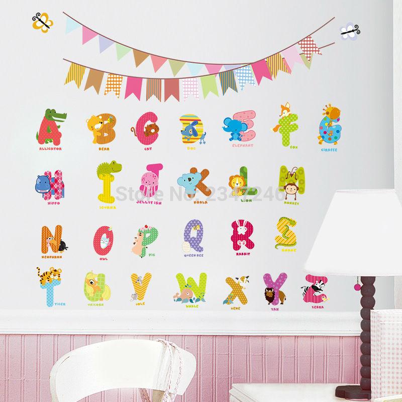 Cartas Animales Pared Alfabeto De Dibujos Animados Extraíble Decoración  Para El Hogar Kids Room ABC Pared