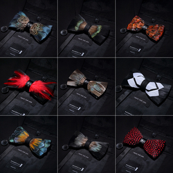 RBOCOTT Leather Bow Tie Men's Luxury Bowtie With Box Fashion Peacock Feather Bow Ties 12cm*5cm For Men Business Party Wedding 3