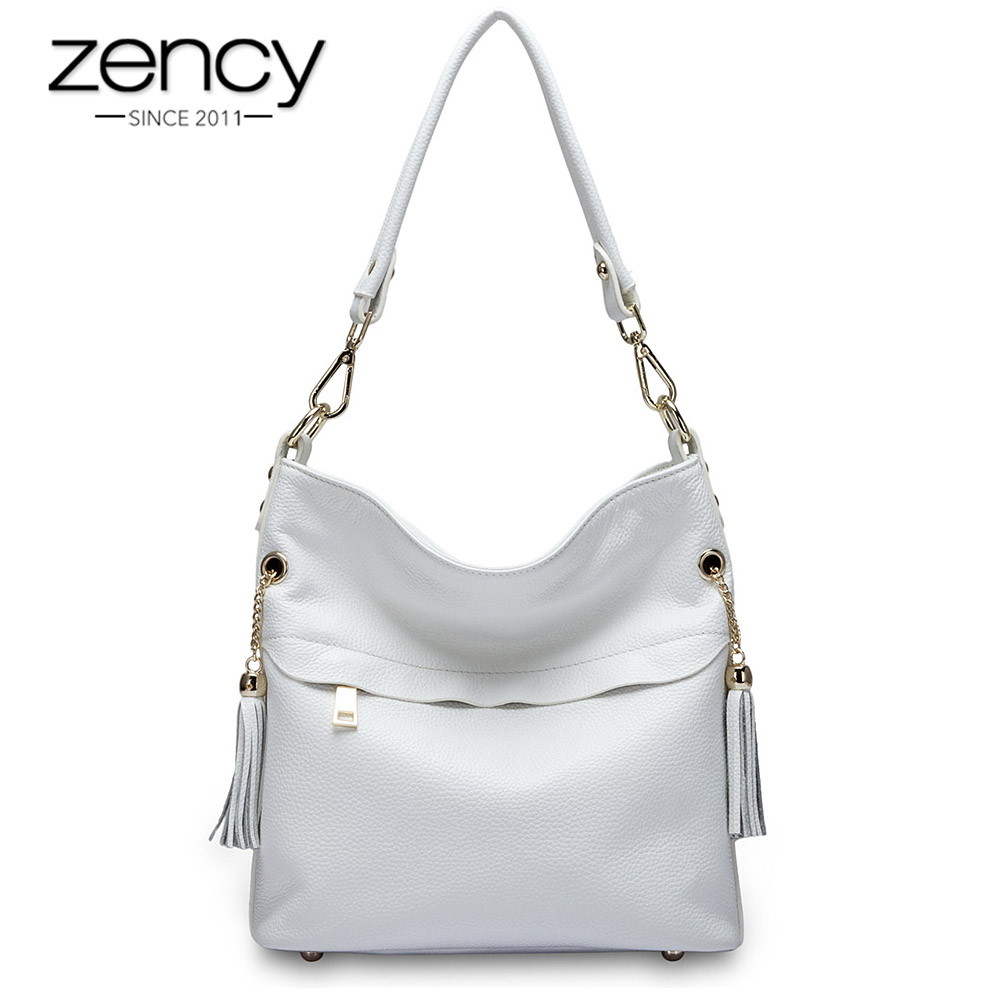 Zency 100% Genuine Leather Charm Women Shoulder Bag With Tassel Fashion Lady Messenger Crossbody Purse Black White Handbag