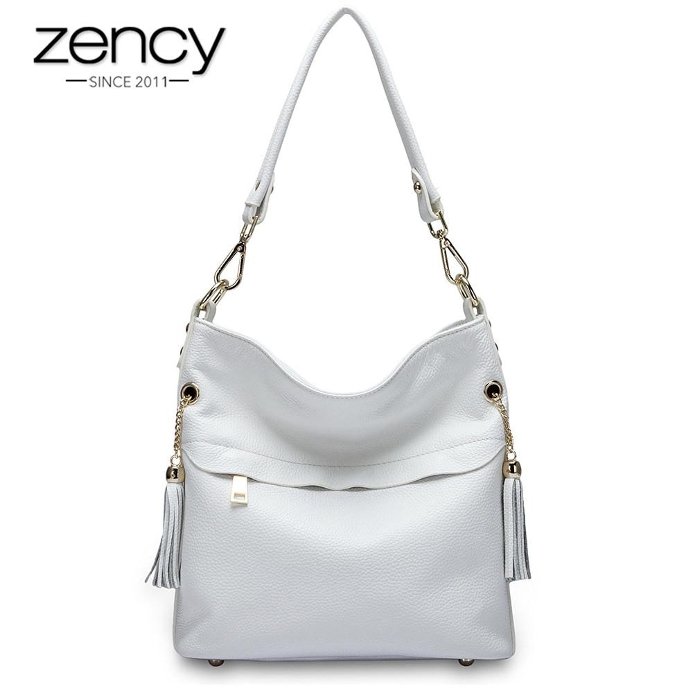 Zency 100% Очаровательная женская сумка на плечо из натуральной  кожи с кисточкой, модная женская сумка мессенджер через плечо, сумочка  черного и белого цветаСумки с ручками