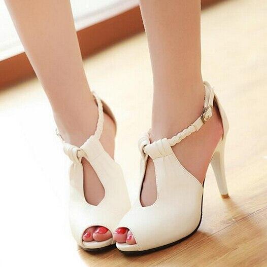 Women Sandals 2015 Gladiator Shoes women Rome Sexy High heel Peep Toe Pu Leather Casual Sandalias