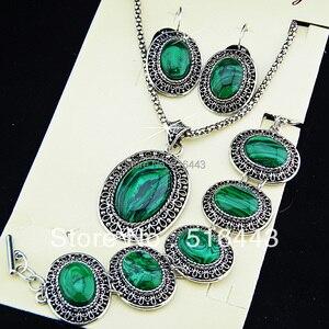Image 3 - Charms 2 takım vintage antik gümüş p oval doğal malakit taş küpe bilezik kolye kadınlar takı seti a 698