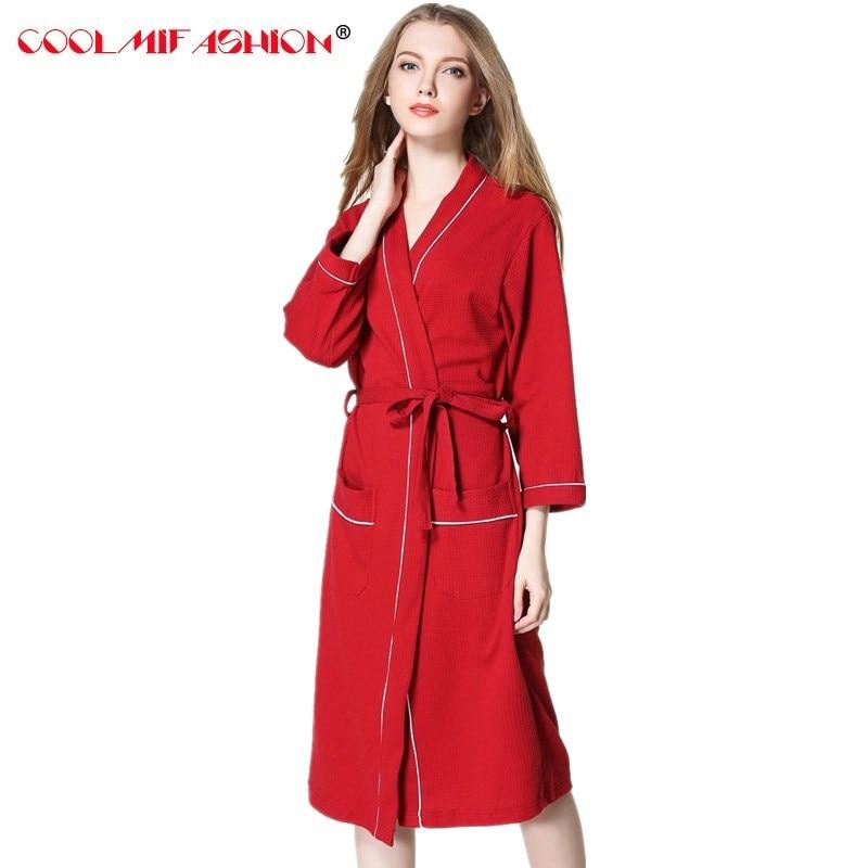 Cotton Robe femme Bathrobe Loose Long Robes For Womens White Pink Plus Size Women kimono Robe After Bath Dressing Gowns Homewear