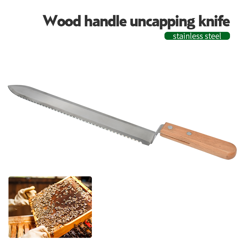40cm Serrated Blade Honey Knife Beehive Beekeeping Scraper Uncapping Stainless Steel Bee Hive Tools Honey Extractor Equipment