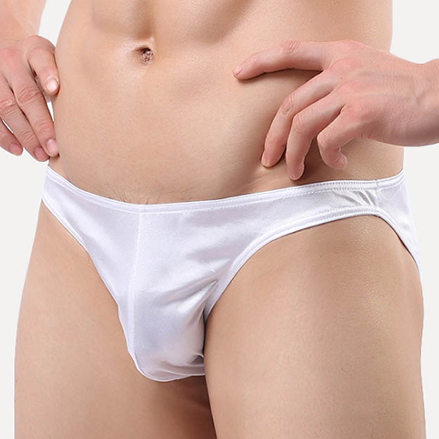 High quality Nylon Men Briefs Underwear Bikini Shiny Slip Softy Sexy Gay Male Brief Underpants Panties Low rise Brand Asian size in Briefs from Underwear Sleepwears