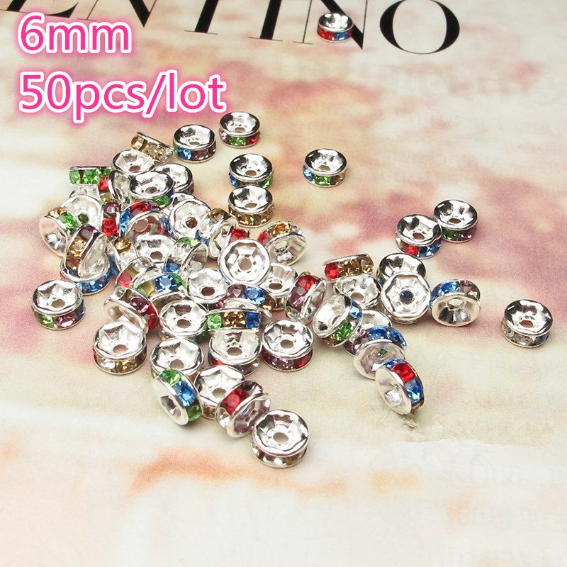NEW 50pcs 6mm Czech Crystai Rhinestone Glass Round Loose Spacer Beads For Jewelry Making DIY Bracelet Necklace