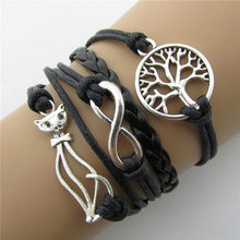 2018 new arrival hot sale Retro Cat Tree Word More Fashion Beautiful Leather Cord Bracelet By Hand-made(China)
