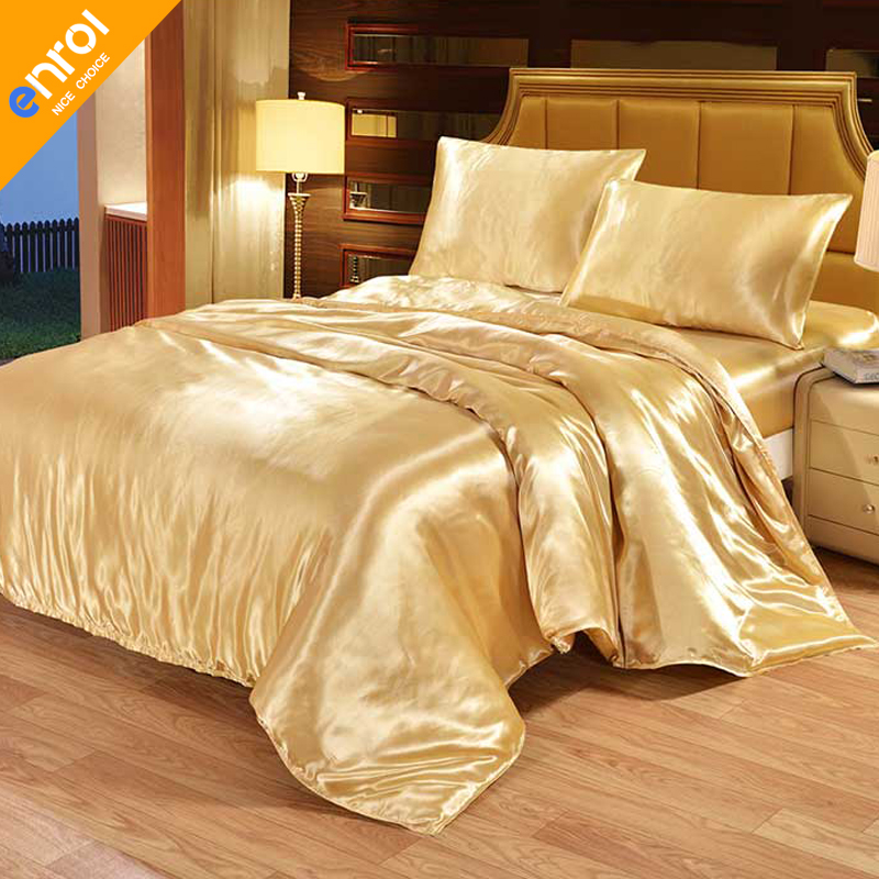 Silk duvet cover cheap solid color bedding product suppliers quilting queen king black white - Housse de couette all black ...